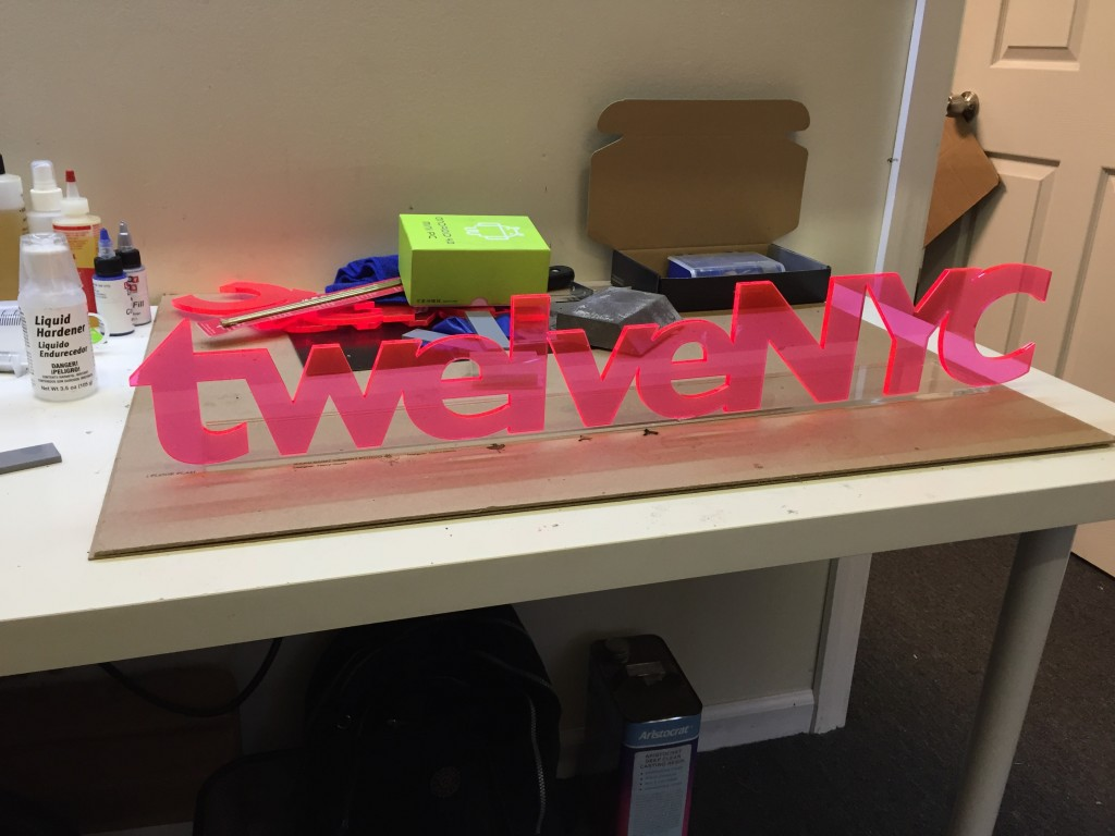 custom acrylic sign laser cutting nyc Fluorescent edge glow fabrication platic