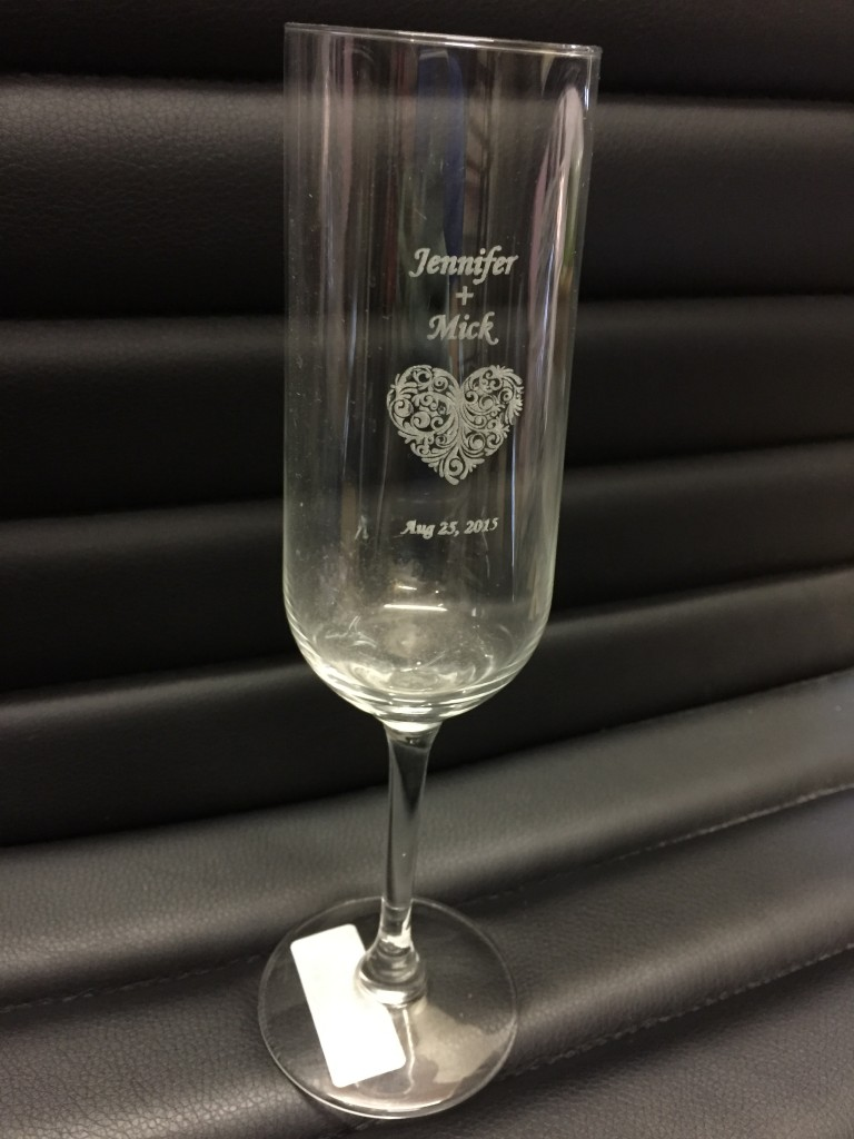 Wedding champagne Glass Laser Engraving Gift
