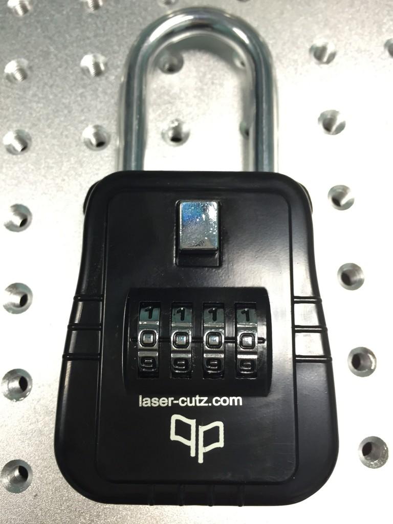 fiber laser metal lock engraving