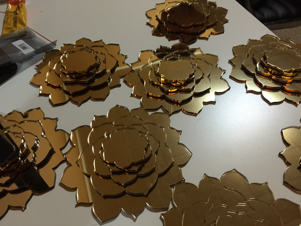 Gold Lily Flowers Acrylic Laser Cutting in NYC