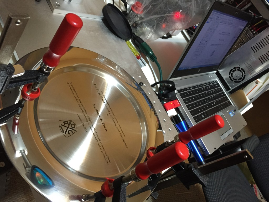 Fiber Laser Engraving Restaurant Award Plate Dish in NYC