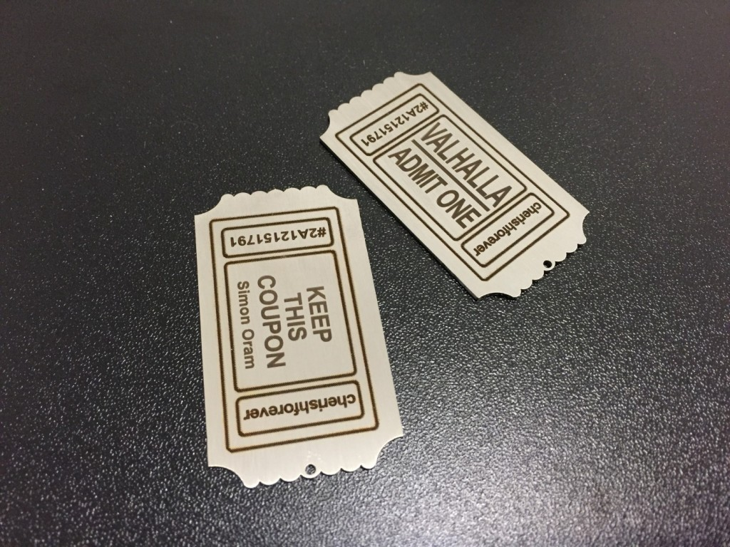steel metal dog tag ticket fiber laser engraving