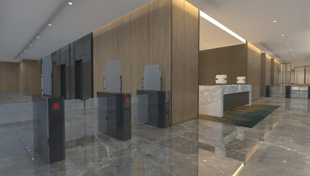 office building turnstyle partition barier sneeze guard laser cut